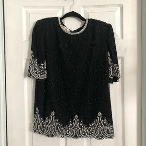 Laurence Kazar embellished short sleeve blouse